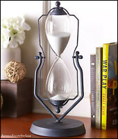 "14""H Vintage Decorative Metal Sand Hourglass One Hour Timer In Swivel Stand"