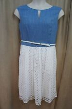 Ellen Tracy Dress Sz 12 White Blue Sleeveless Belted Waist Eyelet Business Casua