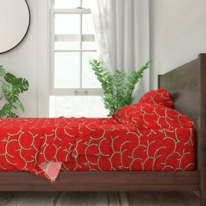 Summer Fruit Watermelon Melon Red 100% Cotton Sateen Sheet Set by Roostery