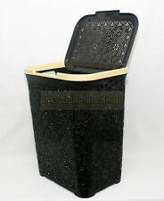 Plástico Flor Rattan Estilo 55l cesta de ropa para caja de almacenamiento de bin marrón oscuro