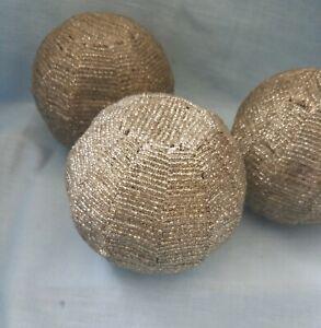 Vintage Decorative Glass Beaded Globe Balls-Set of 3-Metal and Glass