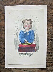 Victorian Valentine Card Poem Handcoloured Print Engraving Preaching Vicar! Fun!