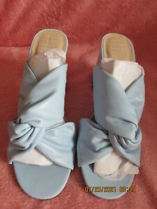 WOMEN MARKS AND SPENCER SLIP ON HEELED SANDALS PALE  BLUE SIZE 5.5