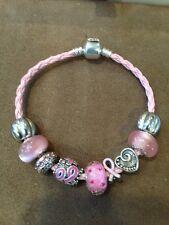 Breast Cancer Awareness Pink Ribbon Survivor Nine Charm Bead Braided Bracelet