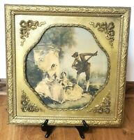 Antique Victorian Picture Frame Ornate Gilded Gesso 19x19""