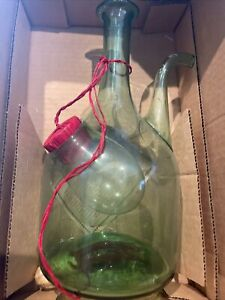 Vintage Princess House Old World Italian Wine Cooler Green Glass Decanter In Box