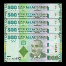 Lot 5 PCS, Tanzania 500 Shillings, 2010, P-40, UNC