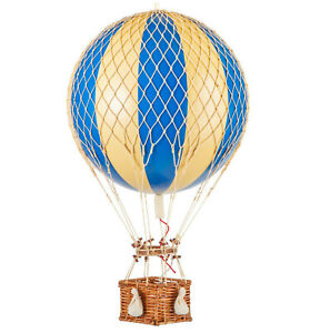 """Hot Air Balloon Model Blue & White Wide Striped 13"""" Hanging Ceiling Home Decor"""