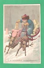ANTIQUE CHRISTMAS TRADE CARD G.A. SCHWARZ TOYS, PHIL. SANTA CLAUS SLEIGH CHIMNEY