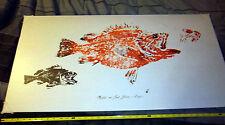 Alaska Rockfish & Spot Shrimp Gaijin Gyotaku art print 20x38 inches, UNIQUE item