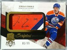 1/35 1/1 JORDAN EBERLE SCRIPTED SWATCHES ROOKIE JERSEY PATCH AUTO THE CUP