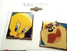 2 PCS - VINTAGE LOONEY TUNES TWEETY and TAZ TAC PINS - tt