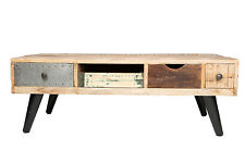 NEW Timber Country Distressed Chic Coffee Table Scandinavian Metal Retro Drawers