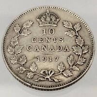 1917 Canada Ten 10 Cents Circulated 925 Sterling Silver Canadian Dime Coin B506