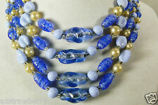 Vintage 3 strand white pearl faux blue art glass beaded necklace made in Japan
