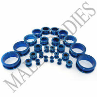 V013 Blue Color Screw-on Flesh Tunnels Steel Ear Earlets Screw-fit Plugs 10G~1""
