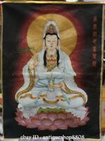 """36"""" Tibet Silk Satin Seat Kwan-yin Goddess Guan Yin Boddhisattva Thangka Mural"""