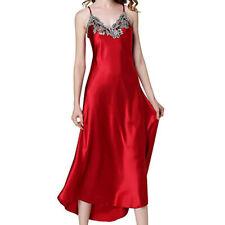 Women's Lace Imitation Satin Sleepwear Sexy Slip Dress Long Sleeveless Nightgown