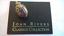 Joan Rivers Enamel Egg Pendant - 23x12 Green Indigo Violet Heart Arrow Motif!