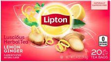 Lipton Herbal Tea, Lemon Ginger, 20 Tea Bags, Sealed Box, USA Seller Exp1/6/21