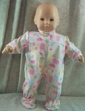"""Doll Clothes Baby Made 2 Fit American Girl 15"""" inch Bitty Pajamas Pink Hippos"""
