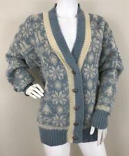 VINTAGE Icelandic Ice-Knit Wool Sweater Cardigan Snowflakes Blue White Ski-M/L