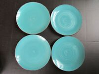 Set of 4 Royal Norfolk TURQUOISE SWIRL BROWN TRIM Dinner Plates 10.5""