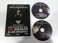 MILLENNIUM 1 LOS HOMBRES QUE NO AMABAN MUJERES 2X DVD STEELBOOK STIEG LARSSON AM