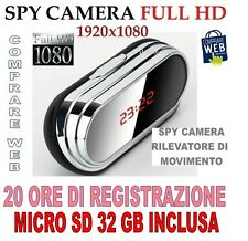 SVEGLIA OROLOGIO + SD 32 GB SPIA SPY CAMERA 1920x1080 MOD. V9 MOTION DETECTION