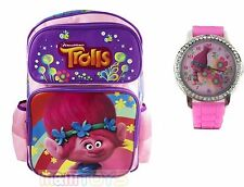 Trolls Poppy Large Back to School Canvas Backpack w/ Poppy Watch Silicone Band
