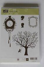 """Stampin Up Forever Young set of 5 """"Retired"""" Tree, Swing, Clock, Silhouette Frame"""