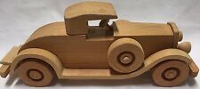 "Vtg 1929 Packard Le Baron hand carved solid wood wooden car 13"" long toy car"
