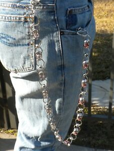 New Men's Wallet Jean Chain Skulls Key Ring Attachment Silver Bikers Motorcycle