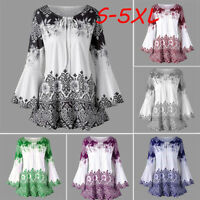 Plus Size Fashion Women Ladies Printed Flare Sleeve Tops Blouses Keyhole T-Shirt