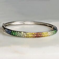 14K White Gold Rainbow MultiColor Gemstone Sapphire Garnet Topaz Bangle Bracelet