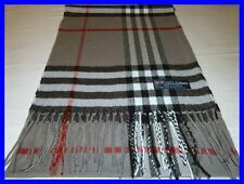 New 100% Cashmere Scarf Soft 72X12 Gray Black Red Check Plaid Scotland Wool Men