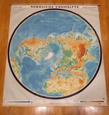 Amazing Rare Northern Hemisphere Perspective Map Polar Region Wall Chart School