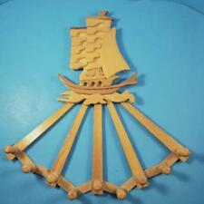 Clipper Ship Accordion Coat Rack Expand Wall Hang Wood Wooden Hook Nautical Tiki