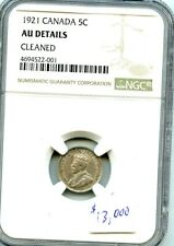 1921 5c - CANADA - NGC AU details, A very gently cleaned coin.