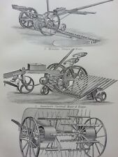 ANTIQUE PRINT DATED C1870'S AGRICULTURAL IMPLEMENTS ENGRAVING HORNSBY MOWER