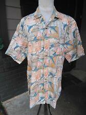 MENS MEDIUM CLEAR WATER OUTFITTERS HAWAIIAN CAMP FISH Short Sleeve Button Shirt