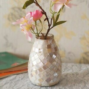 Elegant Mosaic Pieces Glass Vase Mirror Flowers Terrarium Home Tabletop Decor