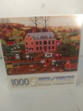 Bits and Pieces 1000pc Puzzle Pig & Pumpkin Inn Joseph Holodook Complete
