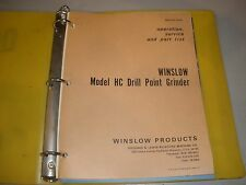 Winslow Drill Grinder Model Hc Operation Parts Service Manual