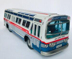"""Masudaya MT Modern Toys Made Japan GM Sight-Seeing BUS tin toy 16"""" long Vintage"""
