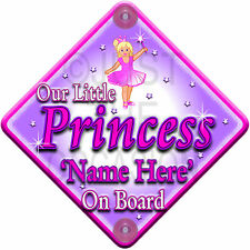 NEW Pink   OUR LITTLE  PRINCESS   Personalised Baby on Board Car Window Sign