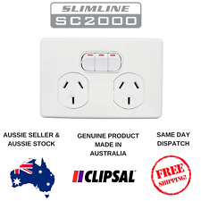 Clipsal Slimline Double Power Point 10A GPO Socket with Extra Switch SC2025X-WE