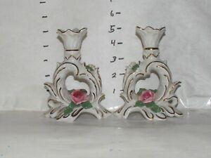 Vintage Dresden Porcelain Candlestick Holders