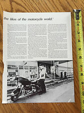 1975 HARLEY DAVIDSION MEMORABILIA Vintage magazine page
