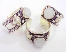 Old Tibet Silver white moonstone Ring Adjustable Religion one pieces